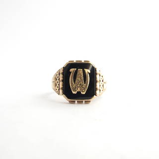 9ct rose gold vintage onyx initial signet ring
