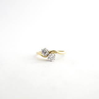 18ct yellow and white gold 2 stone diamond ring