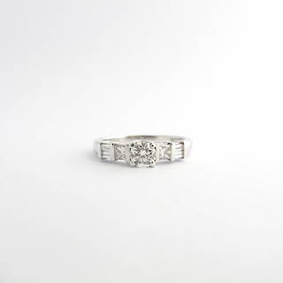 18ct white gold diamond solitaire ring set with princess & baguette shoulder diamonds