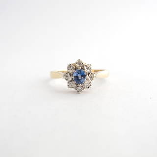 9ct yellow gold ceylon sapphire and diamond cluster ring