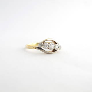 18ct yellow gold & platinum antique Old European cut five stone diamond ring