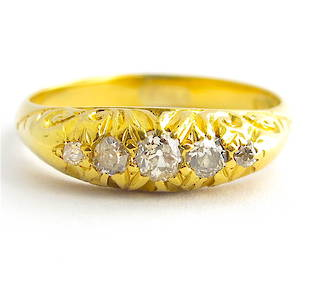 18ct yellow gold antique Old European cut five stone diamond ring