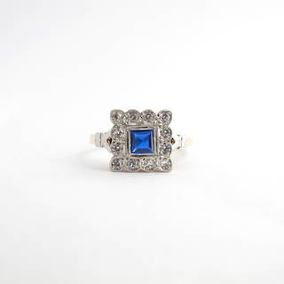 18ct yellow gold & platinum synthetic blue sapphire and white sapphire art deco ring