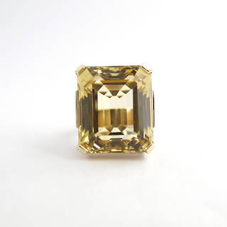 9ct yellow gold 35ct emerald cut citrine ring