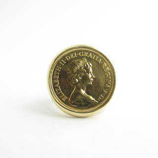 22ct gold sovereign coin ring set in 9ct yellow gold