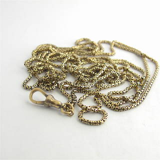 Antique 9ct old gold 'long' muff chain