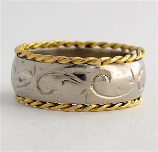 18ct yellow & white gold fancy band