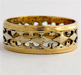 18ct bitonal filigree style band