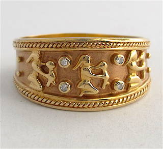 9ct yellow gold unisex wide Egyptian design diamond set ring