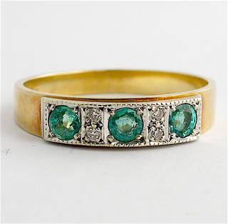 9ct yellow and white gold vintage natural emerald and diamond ring