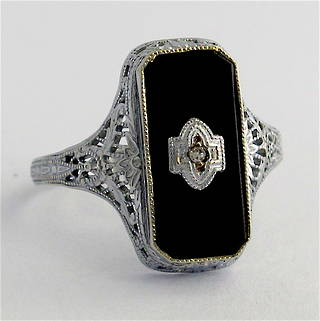 10ct white gold onyx and diamond Art Deco style ring