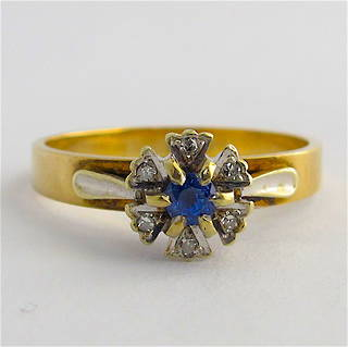 9ct yellow/white gold sapphire and diamond ring