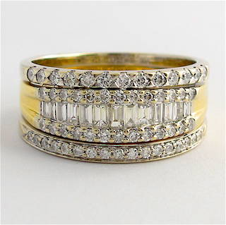 18ct yellow and white gold multi diamond style ring
