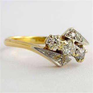 18ct yellow and white gold vintage three diamond set ring