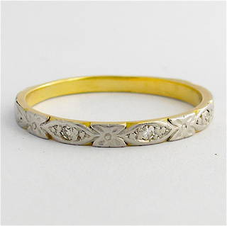 18ct yellow gold and platinum diamond set patterned band