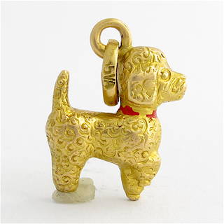 18ct yellow gold Poodle dog charm