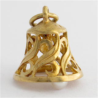 9ct yellow gold and pearl bell charm