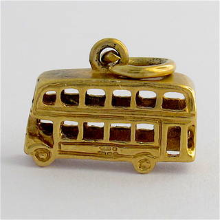 9ct yellow gold double decker bus charm