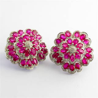 18ct white gold natural ruby and diamond flower style cluster earrings