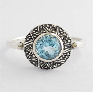 Sterling silver round blue topaz dress ring