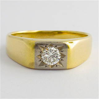 18ct yellow and white gold gents diamond set ring