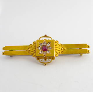 15ct yellow gold antique ruby and rose cut diamond mourning brooch