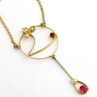 Antique 9ct yellow gold gem set necklace