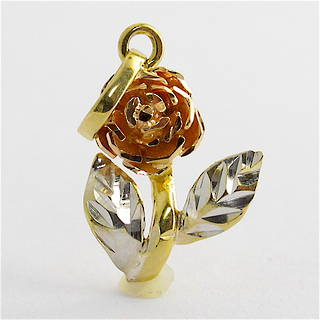 18ct tri-gold rose charm
