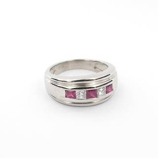 18ct white gold natural ruby and diamond set ring