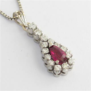 18ct white gold ruby and diamond pendant with chain