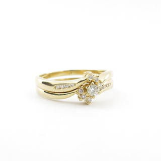 18ct yellow gold diamond cluster ring with shoulder diamonds and matching diamond wedding ring