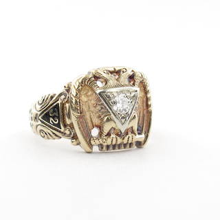Gent's 14ct yellow masonic diamond set ring