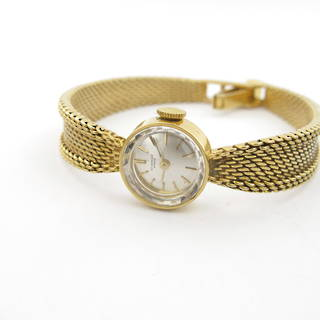 18ct yellow gold Lady's 'Wenger' watch with mesh strap