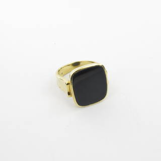 18ct yellow gold unisex square onyx ring