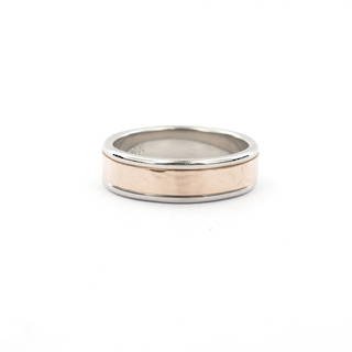 Gent's 18ct rose gold and palladium two tone band ring
