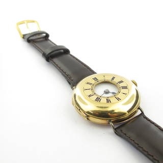 18ct yellow gold unisex antique watch with genuine leather strap