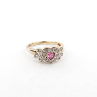 9ct yellow and white gold pink sapphire and diamond heart shaped cluster ring