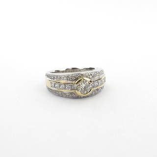 18ct yellow and white gold triple row multi diamond set ring