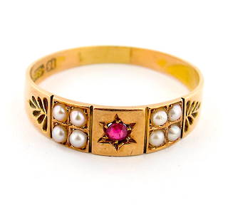 15ct rose gold antique ruby and seed pearl ring