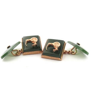 9ct rose gold New Zealand Greenstone cufflinks