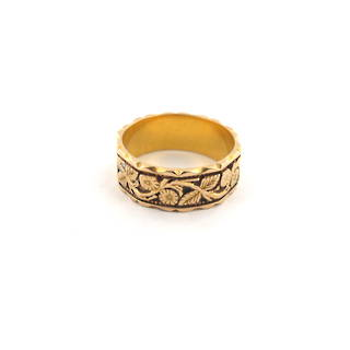 18ct Antique yellow gold flora pattern band