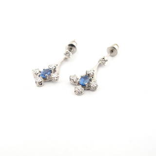 18ct white gold ceylon sapphire and diamond stud drop earrings
