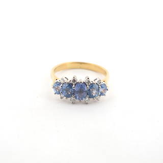 18ct yellow and white gold 5 stone ceylon sapphire and diamond ring