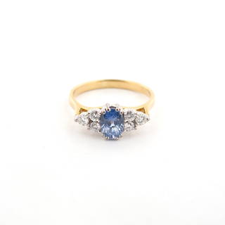 18ct yellow and white gold ceylon sapphire and diamond ring