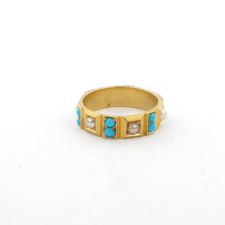 15ct yellow gold turquoise and pearl set ring