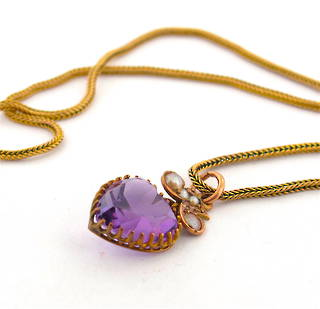 9ct yellow gold antique amethyst and seed pearl pendant with chain
