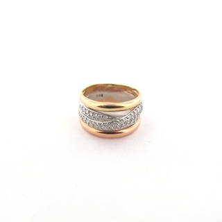 14ct tri tone gold crossover cubic zirconia set ring