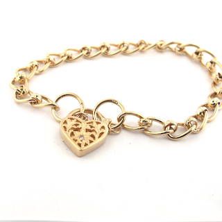 9ct yellow gold oval link bracelet with a heart padlock set with a diamond