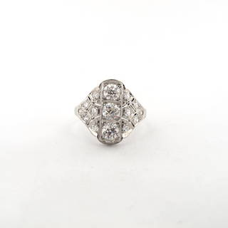 Art Deco platinum multi diamond set ring