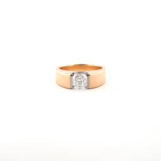 18ct rose and white gold assher cut diamond solitaire ring